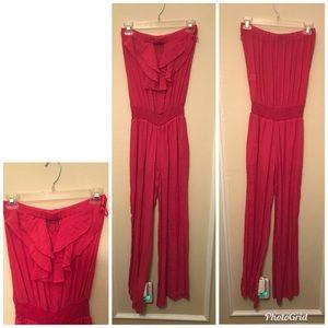 Pink Linen Pant Romper